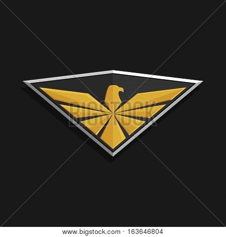 Eagle Logo Icon Design. Stylized eagle spreads its wings on a shield. Golden and silver color on a dark background. Stock vector illustration.