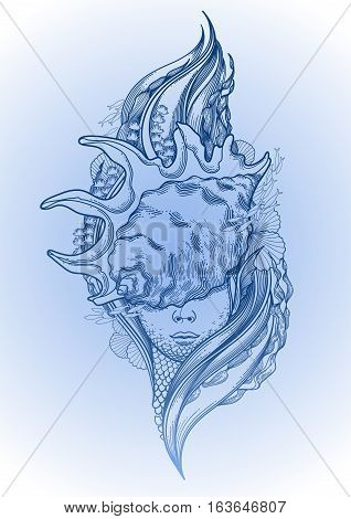 Graphic mermaid head with seashell on her face and seaweed decorations. Tattoo art or t-shirt design. Vector illustration in blue colors