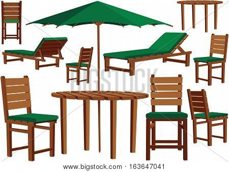 Various items of wooden garden furniture for any terrace.