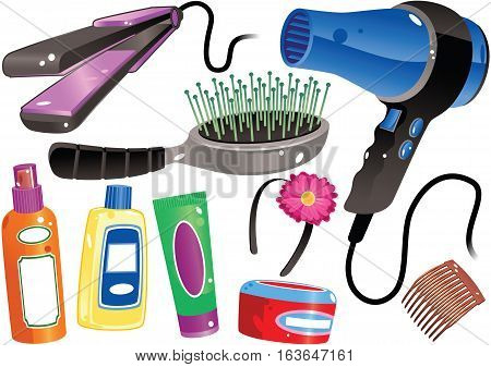 An illustration of various hair styling products including a hair dryer, brush and tongs.