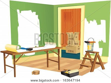 A cutaway illustration of a room being decorated.