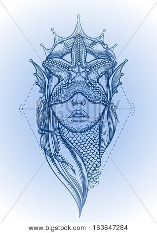 Graphic mermaid head with starfish on her face and seaweed decorations. Tattoo art or t-shirt design. Vector illustration in blue colors