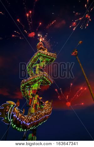 BANGKOK, THAILAND - FEBRUARY 20 2015: Unidentified group of people perform a traditional dragon dance at Rama IX public park to celebrate traditional Chinese's lunar new year
