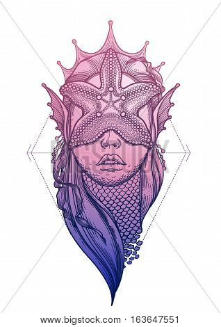 Graphic mermaid head with starfish on her face and seaweed decorations. Tattoo art or t-shirt design. Vector illustration in pink and blue colors