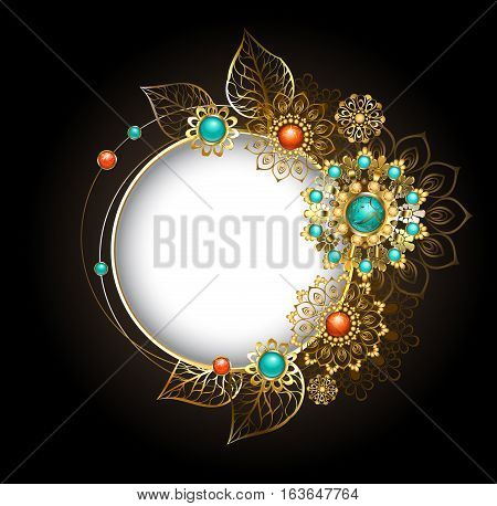 Round jewelry banner decorated with jewelery gold and bronze ornaments in ethnic style with turquoise and jasper on a dark background. Jewelery in boho style.