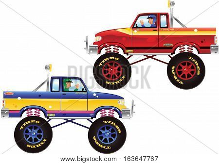 Two side view illustrations of a large four wheeled drive pickup sports truck.