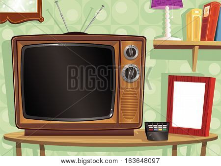 An illustration of a old fashioned TV and remote control. Plenty of blank space for your own message.