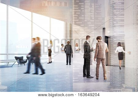 People walking and talking in an elevator hall with a reception counter and two secretaries. 3d rendering. Toned image. Double exposure.