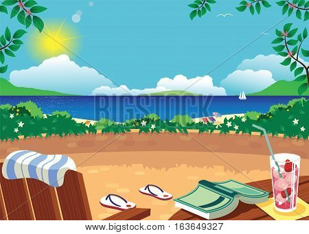 An image of a hot, sunny terrace in a tropical seascape location.