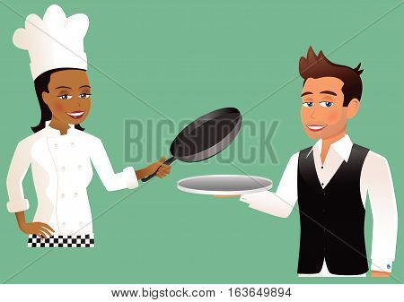 Two illustrations - one of a chef, and one of a waiter.