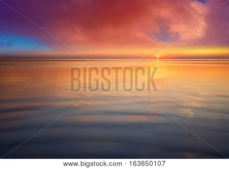 Seascape during sunrise. Beautiful natural summer seascape