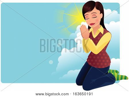 An image of a young woman kneeling and praying. Plenty of space for your own message.
