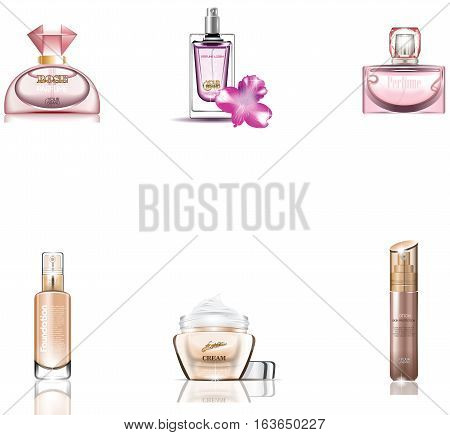 Cosmetics Packages 3d design Beauty Products vector. Realistic perfume and lotions mock up set isolated pack on white background. Brand template. Rose quartz and nude taupe colors