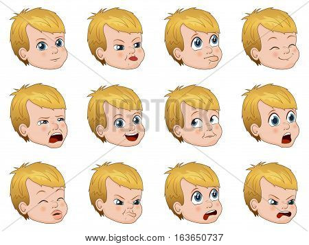 Vector illustration big set of cute little boy faces showing different emotions