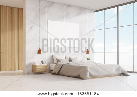 Bedroom With Double Bed And Poster