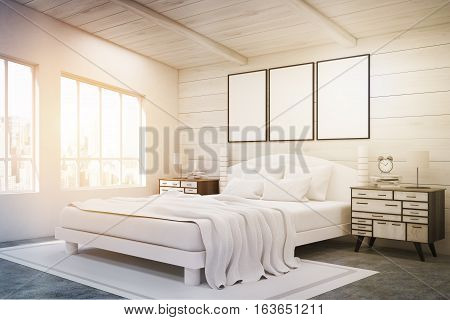 Side View Of Double Bed With Posters, Toned