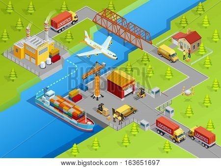 Logistic delivery template with shipping air transport trucks sea freight production and warehouse vector illustration