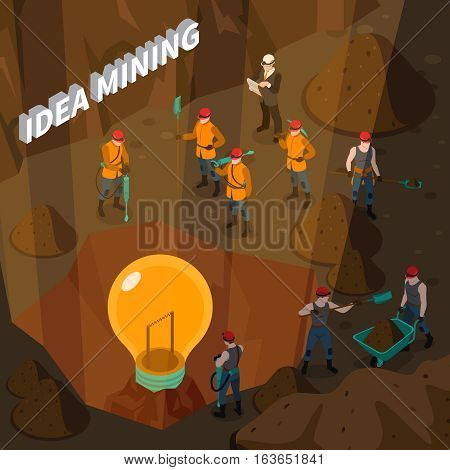 Idea isometric concept with people working in mine and holding mining inventory vector illustration