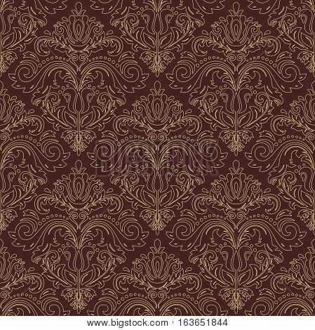 Oriental vector classic pattern with golden outlines. Seamless abstract background with repeating elements. Orient background