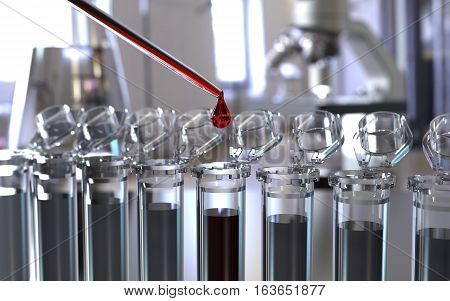Laboratory test tubes with pipette 3D rendering