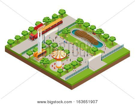 Amusement park isometric concept with roller coaster and train symbols vector illustration