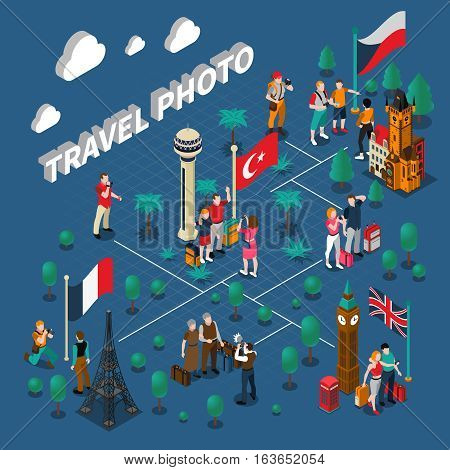 Tourism people isometric composition with travelers family photographing near different famous sights vector illustration