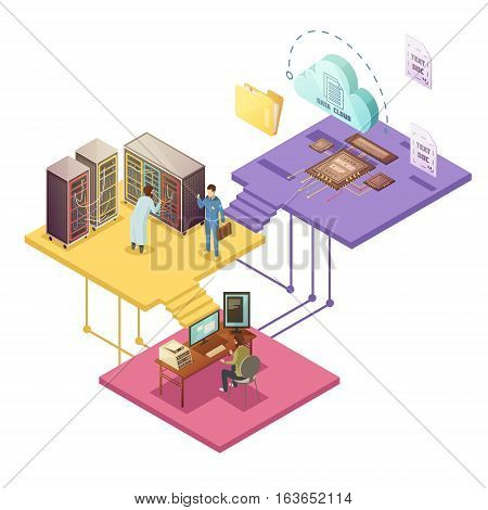 Datacenter with employees and security service server infrastructure cloud storage microchip folder and file isometric vector illustration