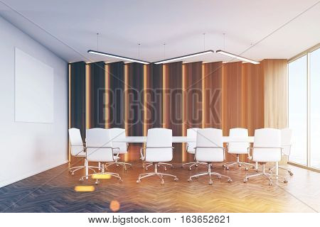 Conference Room With Panels And Poster, Toned