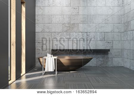 Old Bathroom With Concrete Walls
