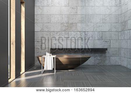 Old Bathroom With Concrete Walls