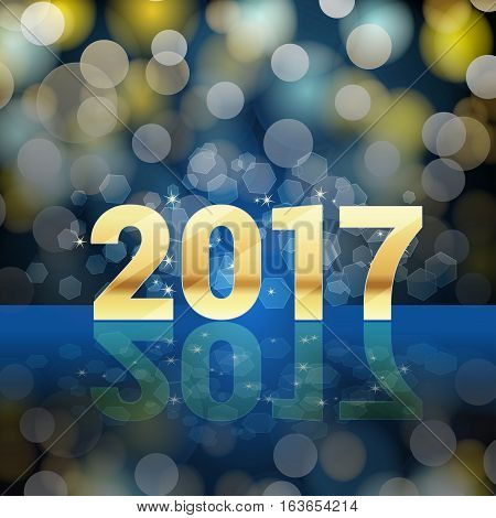 golden 2017 number and light effects blue background. happy new year background. vector illustration