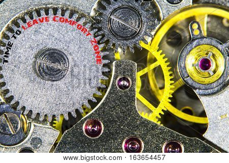 Clockwork Old Mechanical  High Resolution With Words Time To Leave Comfort Zone