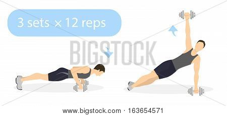 Plank exercise with weights on white background. Plank and rotate with dumbbels. Abs exercise for men.