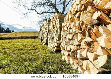 Image view of a pile of cut wood circle piles outdoor in switzerland countryside - Farmer and agriculture concept - Wooden chops for winter fire - Warm vivid filter