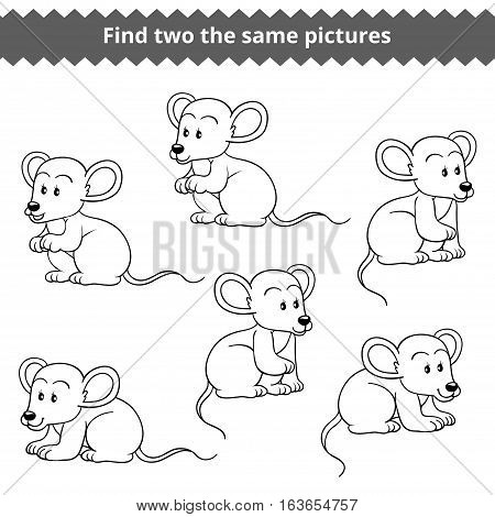 Find two the same pictures, education game for children, vector set of mice