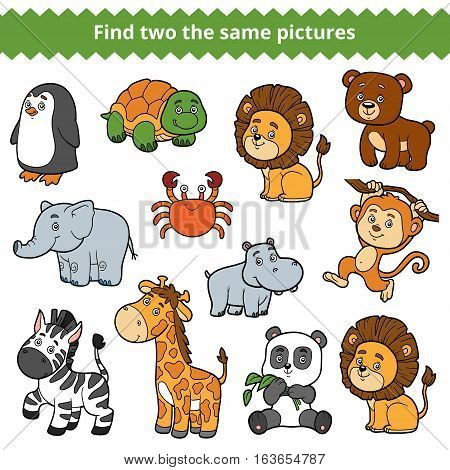 Find two the same pictures, education game for children, vector set of zoo animals