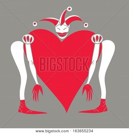 Harlequin with  heart on a gray background. Сolored vector illustration for Valentine's Day