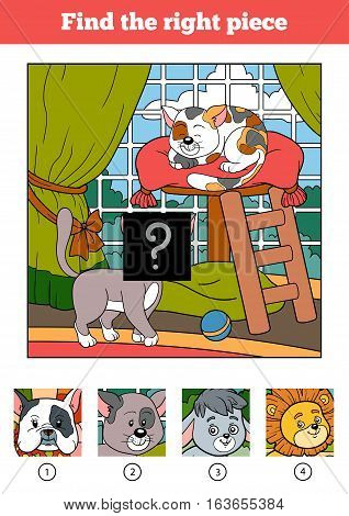 Find the right piece, jigsaw puzzle game for children. Two cats and background