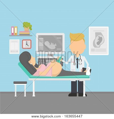 Ultrasonography of pregnant woman in hospital. Pregnancy. Doctor gynecologist.
