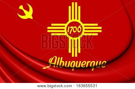 3D Flag Of Albuquerque (new Mexico), Usa. 3D Illustration.
