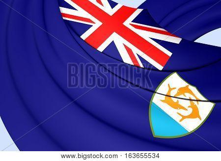 3D Flag of Anguilla. 3D Illustration. Close up.