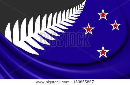 Silver Fern Flag, New Zealand. 3D Illustration.