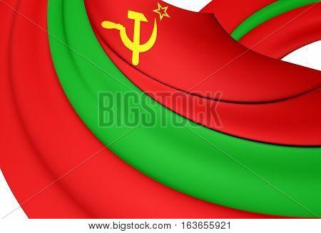 3D Flag Of The Pridnestrovian Moldavian Republic. 3D Illustration.