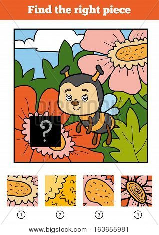 Find the right piece, jigsaw puzzle game for children. Bee and background