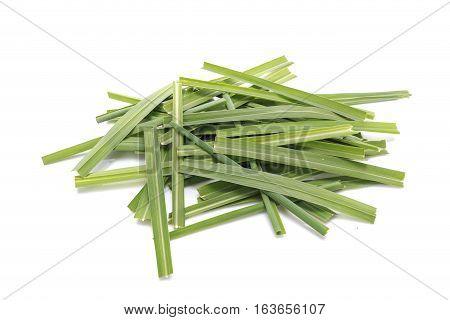 Green Lemongrass Or Citronella Grass Leaf. Studio Shot Isolated On White
