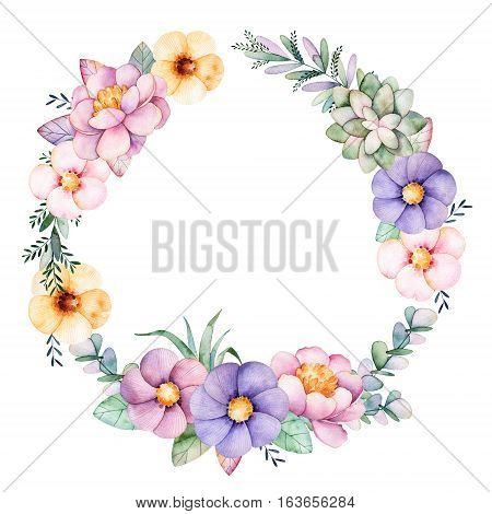 Colorful floral pastel template card with peony,flowers,leaves,succulent plant,branches,eucalyptus leaves