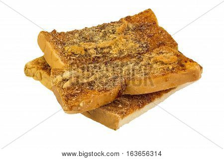 Crispy bread pasted with Thai chilli bread and shredded dried pork isolated on white background.