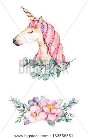 Beautiful floral collection with peony,flowers,leaves,cute unicorn,branches,eucalyptus and more.