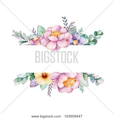 Beautiful watercolor border frame with peony,flower,foliage,branches and gemstones.Handpainted lovely illustration.