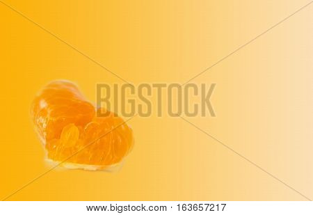 Closeup juicy orange flesh on white background